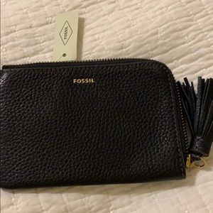 Black Fossil wristlet w/ card holder - brand NEW!